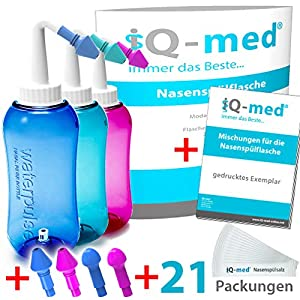 iQ-med Nasendusche 500ml + 33x Salz + Rezeptbuch + 4 Aufsätze