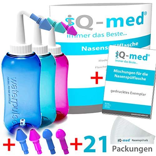 iQ-med Nasendusche 500ml + 21x Salz + Rezeptbuch + 4 Aufsätze (rosa)
