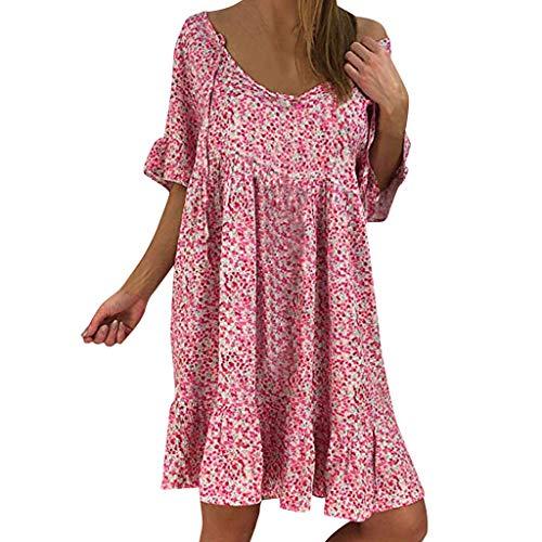Dress Ladies Round Neck Kleid Ruffle Short Sleeve Maxi Kleid Print Chiffon Sommerkleid Casual Strandkleider Minikleid Damen Abendkleid Partykleid ()