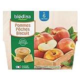 Blédina 4 Coupelles Pommes Pêches Biscuit dès 6 mois