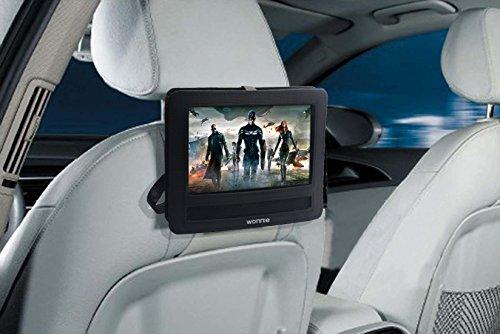 WONNIE Auto Kopfstützenhalterung für Drehgelenk & Flip Tragbarer DVD Player KFZ Kopfstütze Halterung Gehäuse (Black) (10.5 inch) - 5