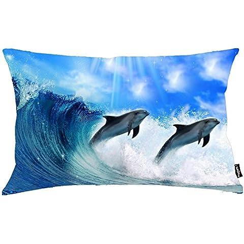 i FaMuRay Almohada Decorativa Sof¨¢ Standard Dolphins Fish Background, 20x26 inches