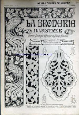 BRODERIE ILLUSTREE (LA) [No 26] du 26/06/1910 - JOURNAL ARTISTIQUE ET PRATIQUE DE TRAVAUX FEMININS COL DROIT AVEC RABAT ET BRODERIE RICHELIEU - MOUCHOIR EN DENTELLE DE BRUGE - CADRE CHANTECLER - BRODE AU POINT DE TIGE