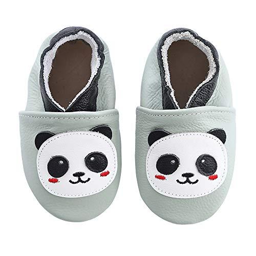 koshine Weiches Leder Krabbelschuhe Baby Schuhe Kinder Lauflernschuhe Hausschuhe 0-3 Jahre (0-6 Monate, Panda)