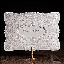 VStoy 2016Nuevo cortado con láser, diseño de color blanco invitaciones de boda tarjetas tarjetas de felicitación bebé o novia ducha invita a (20pcs)