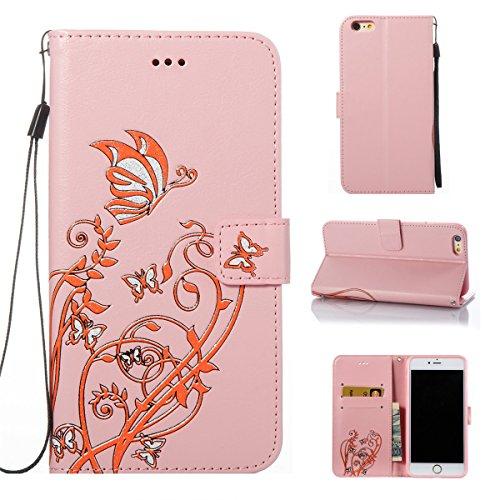 Coque iPhone 6s, Étui en cuir iPhone 6, Lifetrut [Papillons en relief] Design Flip Folio Cuir Housse de Portefeuille pour iPhone 6S 6 [Or] E206-Pink