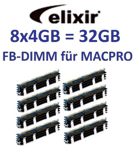 Elixir Original 8x 4GB = 32GB Kit 240pin FB-DIMM DDR2-800PC2-6400128Mx4X 36double side (M2D4G72TU4ND9B-AC) per Apple MacPro sistemi 1,12,13,1(anni 2006A 2008) modelli