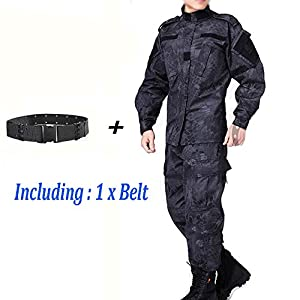 Men Tactical BDU Combat Uniform Jacket Shirt & Pants Suit Typhon Kryptek for Army Military Airsoft Paintball Hunting Shooting War Game by WorldShopping4U
