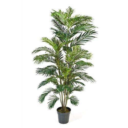 artplants Künstliche Areca-Palme JENNICA im Zementtopf, 53 Palmwedel, 180 cm – Kunstpalme/Dekopalme
