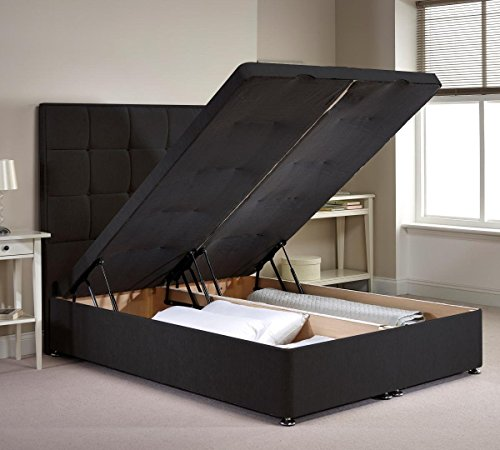 Appian ottoman divan bed frame charcoal chenille fabric for Divan double bed frame