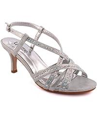 Unze Femmes 'Chyna' Diamante Embellie Peep-Toe Mi-Haut talon aiguille Soirée Soirée Carnaval Rejoindre Brunch Mariage Talon Sandales Court Chaussures Taille 3-8