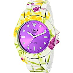 TKO ORLOGI Women's TK642PR Floral Analog Display Quartz Multi-Color Watch