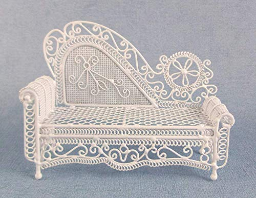 Schmiedeeisen-sofa (Melody Jane Puppenhaus Miniatur Möbel Weißer Draht Schmiedeeisen Chaiselongue Sofa)