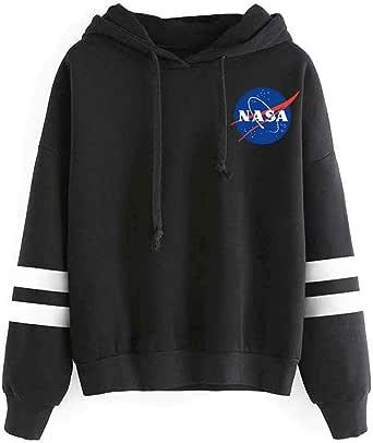 OLIPHEE Felpe con Cappuccio Classico con Logo di NASA di Fronte e Dietro Hoddies per Ragazzi e Uomo