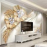 Mural 3d pared - Papel pintado 3D personalizado Joyas de flores de...