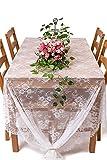 Y-step - Tovaglia in pizzo bianco classico per matrimoni, con ricamo con rose vintage, per interni/esterni, 152,4x 299,7cm