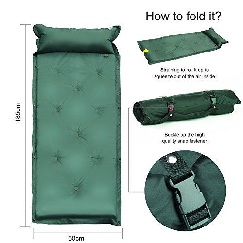 Multifunzione Ufficio Auto Gonfiante Air AAT per adulti e bambini da campeggio automatico gonfiabile Sacco a pelo, Army green