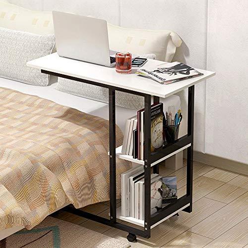 Mdf Moderner Schreibtisch (JZX Fauler Tisch-Klapptisch Mobiler Computertisch Einfacher und moderner Mini-Teetisch MDF + Metall Sofa Kabinett Schreibtisch Platz sparen,C)