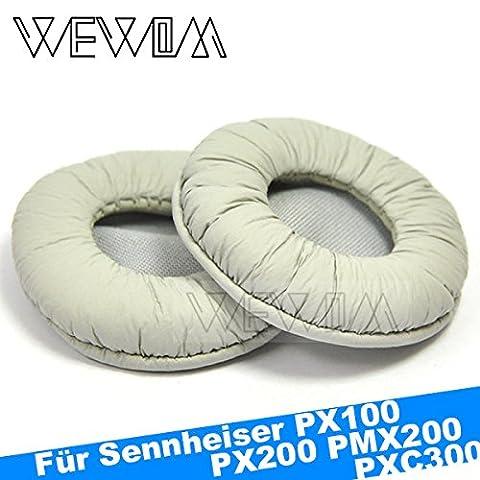 WEWOM 2 Ersatz Ohrpolster für Sennheiser PX100, PX100-II, PX200, PX200-II, PMX200, PXC150, PXC250 und PXC300 Kopfhörer, Grau