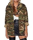 FOLLOWUS Femmes Loose Zip Fermeture Vestes Blouson Militaire Camouflage Manteaux Outwear (M)