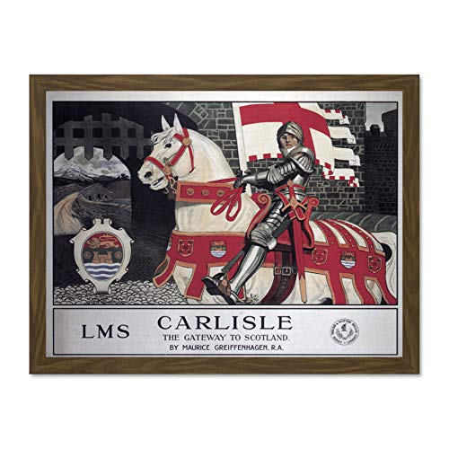 Doppelganger33 LTD Travel Carlisle Knight Castle Horse Gateway Scotland UK British Large Framed Art Print Poster Wall Decor 18x24 inch Supplied Ready to Hang -