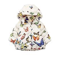 TkriaBabyGirlsCoat ChristmasHoodedJacketsButterfly Printing CartoonWinterHoodieKids Outerwear UK Size 6 Months to 4 Years