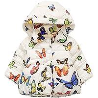 Tkria BabyGirlsCoat ChristmasHoodedJacketsButterfly Printing CartoonWinterHoodieKids Outerwear UK Size 6 Months To 4 Years