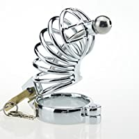 Bloqueo de castidad Sex Toys CB Chastity Equipment Acero Inoxidable Sexy Metal Male Penis Cage Anti-Shedding (Tamaño : 45mm)
