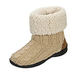 Dearfoams Cuffed Knit Boot Slipper with Heel Patch Beige Large UK/India 7-8