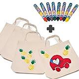 German Trendseller®- 10 x Kinder Stoffbeutel Kindergarten + Gratis: 16 x Bunte Textilstifte | 38 x 42 cm |