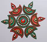 #6: iKreation Acrylic Diya Rangoli (Red and Green)