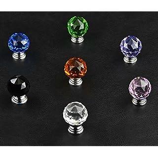 A-szcxtop(TM) 6 Stk. 30mm Einzigartige Transparenter Kristall Glas Küchenschrank Tür Schubladen Griff Türgriff - 5 Stück weiß