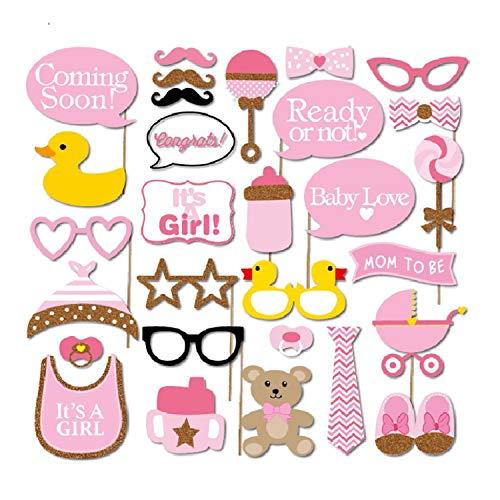 30 Stück Baby Dusche Foto Requisiten, Baby Rosa Foto Stand Requisiten Neugeborenen Mädchen Geschenk Party Dekorationen