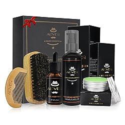 ALIVER Bartpflegeset, Bartschneidegerät, Bartöl + Bartbalsam + Bartshampoo + Bartbürste + Bartkamm für Mens Bartpflege Set.