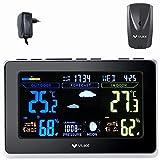 VLIKE Wetterstation Funk mit Außensensor, Wetterstationen Funk-Wettervorhersage-Uhr mit Funk-Außensensor Farbdisplay Dual-Alarme Innen- / Außentemperatur und Luftfeuchtigkeit Mondphasen-Luftdruck