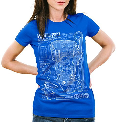 style3 Zaino Prossoonico Cianografia T-Shirt da donna fantasma prossoon pack Blu