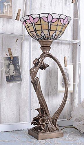 Tischlampe Jugendstil Leuchte Frauenakt Tischleuchte Lampe Pfau Nachttischlampe