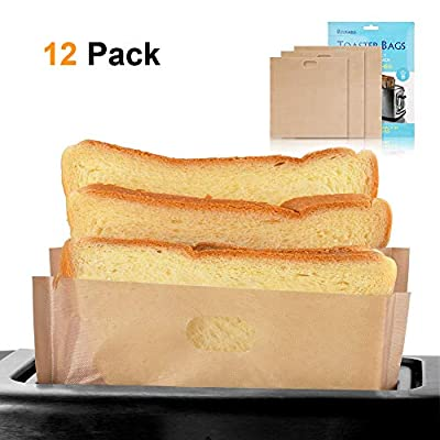 softeen Toaster Bags Reusable Pack of 12 in 3 Different Sizes, Non Stick Toaster Bags for Grilled Cheese Sandwiches, Toaster Bags Gluten Free, FDA and SGS Approved, Made of Premium Quality Teflon