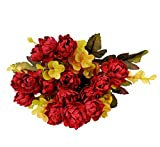 #9: 1 Branch Of Artificial Peony Silk Flowers Bouquet For Home Hotel Wedding Party Garden Floral Decor Without Pot (Red Color)