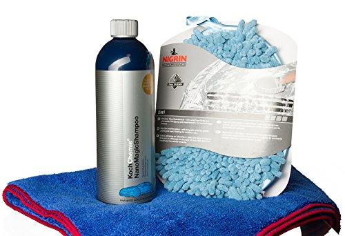 HEWADI® Autowasch-Set Koch Chemie Nano Magic Shampoo 750 ml inkl. Trockentuch, Waschhandschuh Mikrofaser mit Insektennetz und Flaschenöffner von Advanced23 (Auto-wachs Anhaltende Lang)