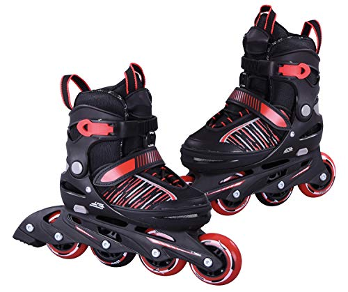L.A. Sports Inliner Skate Soft Kinder Jugend Damen Größenverstellung 5 Größen verstellbar (33-37, Rot)