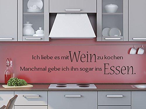 Klebeheld® Wandtattoo Ich Liebe es mit Wein zu Kochen. Manchmal gebe ich ihn sogar ins Essen. (Farbe Weiss/Größe 80x16cm)