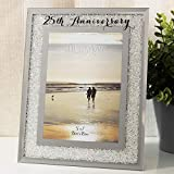 Widdop & Bingham Per il ° anniversario di matrimonio cornice portafoto argento Mirror Glass Crystal Diamante Gift