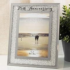 Idea Regalo - Widdop & Bingham Per il ° anniversario di matrimonio cornice portafoto argento Mirror Glass Crystal Diamante Gift