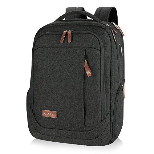KROSER Laptop Rucksack Schulrucksack 17,3 Zoll Tagesrucksack Wasserabweisende Laptoptasche mit USB Ladeanschluss für Business/Schule/Reisen/Frauen/Männer-Schwarz MEHRWEG -