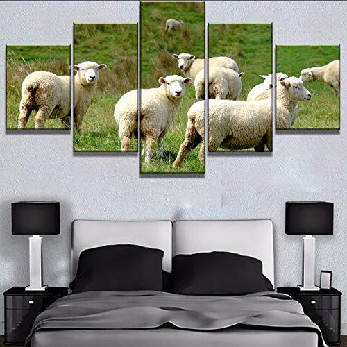 (Wiwhy Wohnkultur Leinwand Malerei Tier Hd Drucke 5 Stücke Schafe Wandkunst Modular Nacht Hintergrund BilderKunstwerk Poster-20Cmx35/45/55Cm,With Framewiwhy)