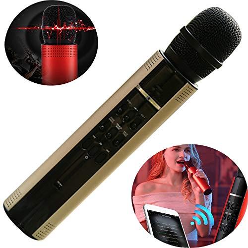 WYGC MIC Bluetooth Karaoke Mikrofon USB-KTV-Player-Lautsprecher Rekordmusik 2 In 1 Verstärker Für Männliche Und Weibliche Stimme Für PC Und Alle Smartphones (Farbe : Gold) (Wii-stimme-spiel)