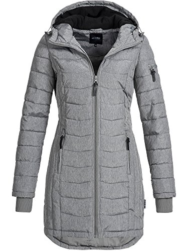 DESIRES Damen Bosse Winter Steppmantel mit Kapuze Parka Wintermantel gefüttert 5 Farben XS-XL 8236 Grey Melange XS