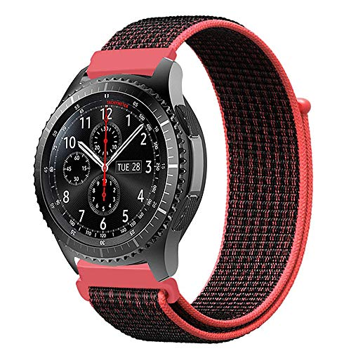 MroTech Gear S3 Armband Nylon, 22mm Uhrenarmband für Samsung Galaxy Watch 46 mm / Gear S3 Frontier / S3 Classic, Huawei Watch 2 Classic / Huawei Watch GT, Ticwatch Pro, LG G Watch 22 mm, Rot - Nylon-loop-uhr-band 22mm