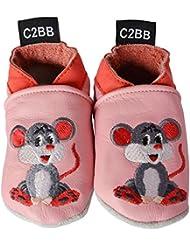 C2BB - Chaussons bébé en cuir souple fille brodé   Mimi la souris